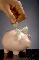 Financial Literacy - Counting Money Into a Piggy Bank